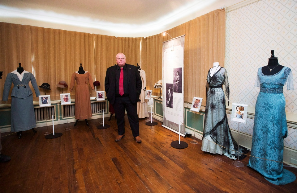 "Toronto Mayor Rob Ford makes an appearance at the media preview for the Canadian launch of the ""Dressing for Downton: Costumes from Downton Abbey"" exhibit at the Toronto Spadina Museum on Friday, March 7, 2014. (The Canadian Press/Michelle Siu)"