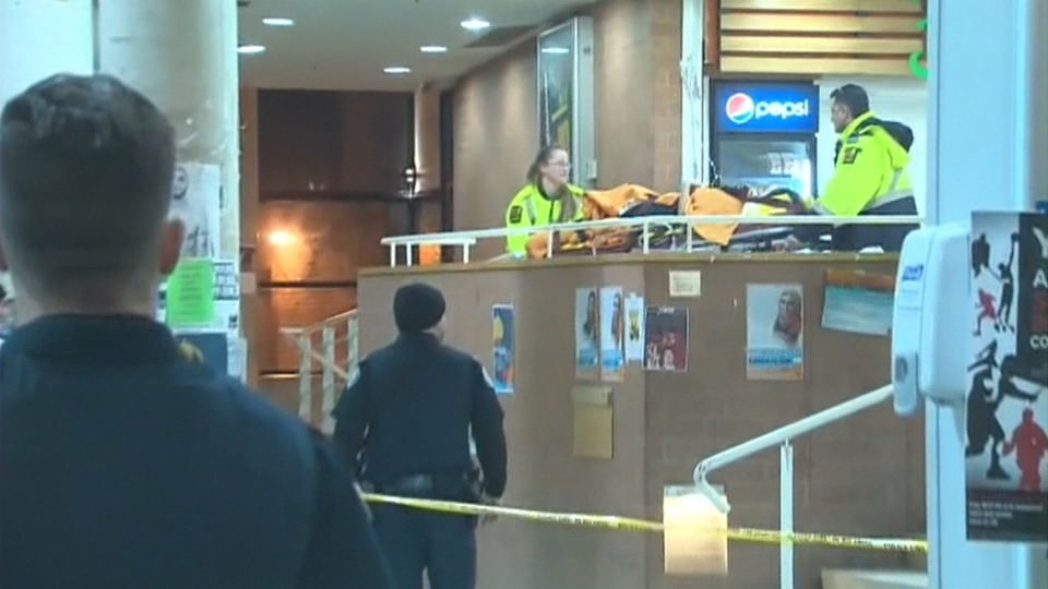 Two women were wounded when a gun discharged inside the food court at York University's student centre Thursday, March 6, 2014.