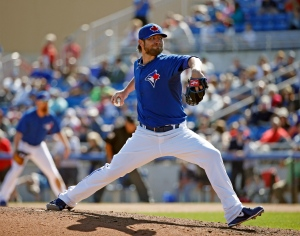 Toronto Blue Jays pitcher Kyle Drabek delivers against the Minnesota Twins during the seventh inning of an exhibition spring training baseball game in Dunedin, Fla., Saturday, March 8, 2014. (AP Photo/Kathy Willens)