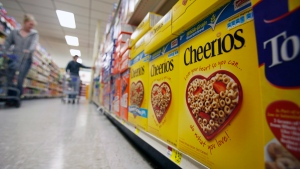 This June 16, 2011 file photo shows boxes of Cheerios in a store in Akron, N.Y. (AP / David Duprey, File)