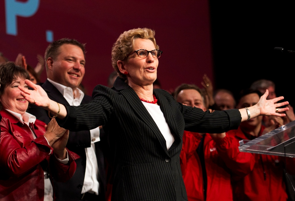 Ontario Premier Kathleen Wynne speaks to supporters and her caucus during the party's annual general meeting in Toronto on Saturday, March 22, 2014. (Nathan Denette/The Canadian Press)