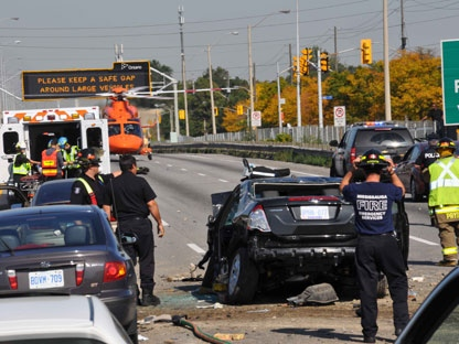 A car involved in a serious accident on the QEW on Friday Oct. 2, 2011. is shown in this photo (Andrew Collins).