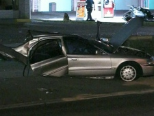 A man in his 20s is dead after his car hit a pole head-on at Kennedy Road and Finch Avenue in Scarborough, Ont. on Monday, Oct. 10, 2011.