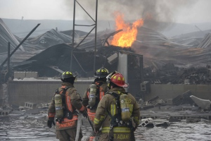 Six alarm fire destroys mattress factory