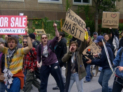 Occupy Toronto presenters participate in a march to Ryerson University on Monday, Oct. 17, 2011. (CP24/George Lagogianes)