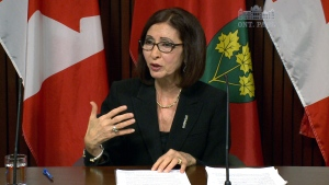 Ontario's Information and Privacy Commissioner Ann Cavoukian  speaks from Queen's Park media studio in Toronto, Monday, April 14, 2014.