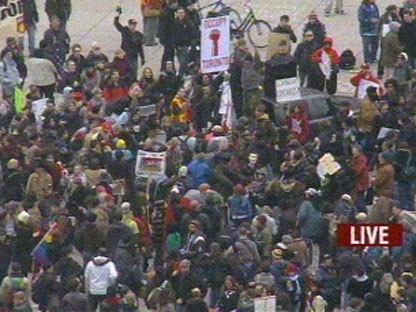 Protesters are seen at Nathan Phillips Square Saturday. (CP24)