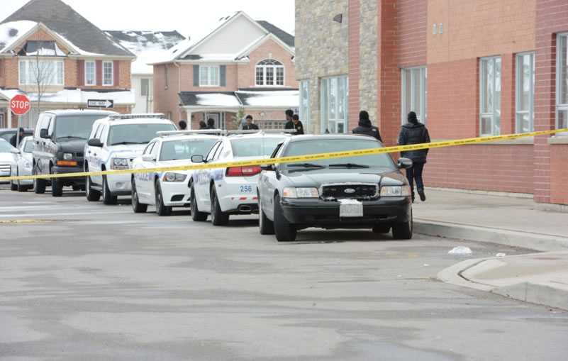 Police tape is shown at the scene of a stabbing at St. Roch Catholic Secondary School in Brampton on Tuesday afternoon.