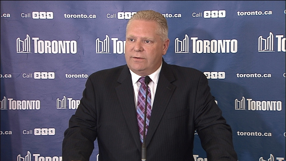 Toronto city Coun. Doug Ford addresses the latest allegations against his brother, Mayor Rob Ford, on Thursday, May 1, 2014.