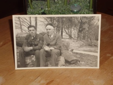 John Joseph Lundy, and his brother William(Bill) Lundy, are shown in uniform, in England in 1942.