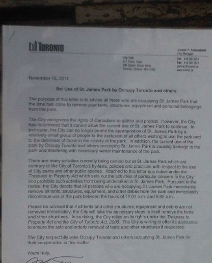 The city handed out this eviction notice to Occupy Toronto protesters on Tuesday, November 14, 2011. Click on photo to read the letter.