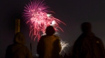 People watch the Toronto Victoria Day fireworks on the beach on Monday, May 20, 2013. (Chris Young / THE CANADIAN PRESS)