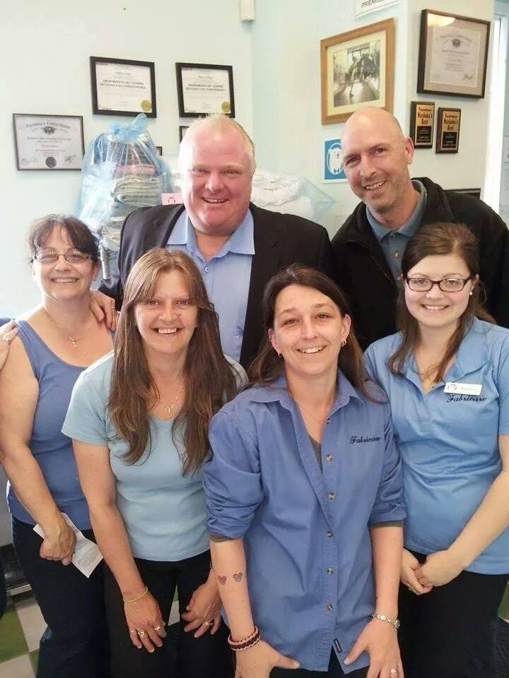 Rob Ford posed for photos with staff at Fabricare in Gravenhurst. An employee at the shop says the photo was taken on Friday, May 16, 2014. (Photo courtesy Erine Strength)