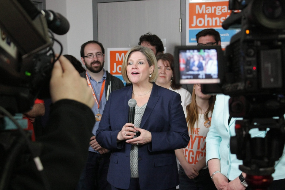 NDP Leader Andrea Horwath speaks during an election rally in Kitchener, Ont, on Friday, May 16, 2014. THE CANADIAN PRESS/Colin Perkel
