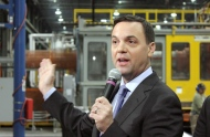 Ontario Progressive Conservative Leader Tim Hudak speaks at a plastics factory in Cobourg, Ont., on Wednesday, May 21, 2014. (The Canadian Press/Colin Perkel)