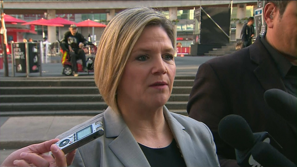 """NDP Leader Andrea Horwath speaks to reporters while unveiling her party's new """"savings calculator"""" in Toronto on Monday, June 2, 2014."""