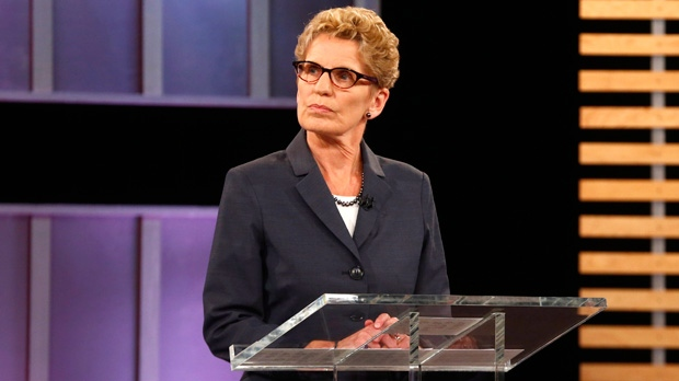 Ontario Premier Kathleen Wynne takes part in the Ontario provincial leaders debate in Toronto, Tuesday June 3, 2014. THE CANADIAN PRESS/POOL-Mark Blinch