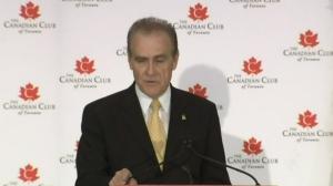 Deputy Mayor Norm Kelly endorses Kathleen Wynne as he addresses the Canadian Club of Toronto on Thursday, June 5, 2014.