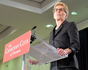Liberal Premier Kathleen Wynne addresses the Canadian Club at a campaign stop in Toronto on Thursday, June 5, 2014. (Colin Perkel /The Canadian Press)