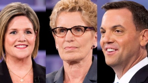 In this composite image, Ontario NDP Leader Andrea Horwath (left), Ontario Liberal Leader Kathleen Wynne (centre) and Ontario Progressive Conservative Leader Tim Hudak are pictured during the leaders debate in Toronto on Tuesday, June 3, 2014. (Frank Gunn /The Canadian Press)