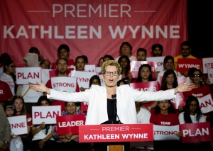 Ontario Liberal Leader Kathleen Wynne speaks in front of supporters while campaigning in Mississauga, Ont., on Sunday, June 8, 2014. (The Canadian Press/Darren Calabrese)