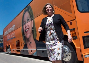 Ontario NDP Leader Andrea Horwath, arrives at a campaign stop at the Hamilton Farmer's Market in Hamilton, Ont. on Saturday, June 7, 2014. (Darren Calabrese /The Canadian Press)