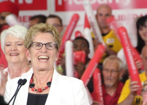 Ontario Liberal Leader Kathleen Wynne is seen at an election rally in Kitchener, Ont., on Sunday, June 8, 2014. (The Canadian Press/Colin Perkel)