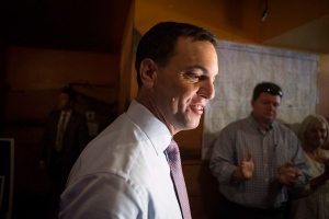 Ontario PC Leader Tim Hudak arrives at a campaign rally in Oakville, Ont., on Tuesday, June 10, 2014. (The Canadian Press/Chris Young)