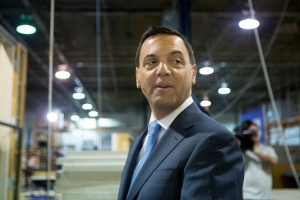 Ontario PC Leader Tim Hudak arrives at a campaign rally at a windows manufacturer in Mississauga, Ont., on Wednesday, June 11, 2014, as he continues his election campaign. (The Canadian Press/Chris Young)