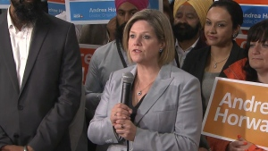 Ontario NDP Leader Andrea Horwath makes a campaign stop in Mississauga on Wednesday, June 11, 2014.