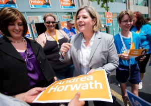 Ontario NDP Leader Andrea Horwath greets supporters while campaigning in Brantford on Tuesday, June 10, 2014. (The Canadian Press/Darren Calabrese)