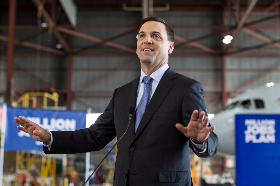 Ontario PC Leader Tim Hudak addresses the media in Mississauga on Thursday, June 12, 2014, as the province goes to the polls on election day. (The Canadian Press/Chris Young)