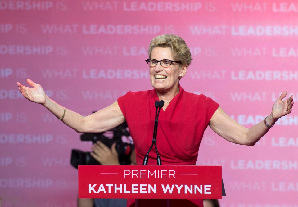 Ontario Liberal Leader Kathleen Wynne speaks to supporters after winning the Ontario election in Toronto on Thursday, June 12, 2014. (The Canadian Press/Frank Gunn)