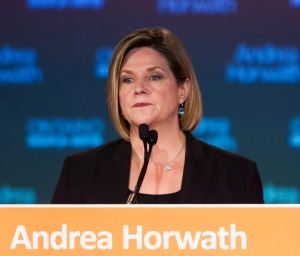 Ontario NDP Leader Andrea Horwath speaks to supporters at the NDP election night party in Stoney Creek, Ont., Thursday, June 12, 2014. (Aaron Lynett/The Canadian Press)