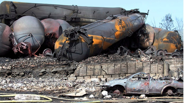 This July 8, 2013 file photo provided by Surete du Quebec via the Canadian Press, shows wrecked oil tankers and debris from a runaway train in Lac-Megantic, Quebec, Canada. (AP Photo/Surete du Quebec, via The Canadian Press, file)