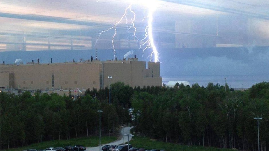 Lightning appears to strike near Bruce Nuclear Generating Station near Kincardine, Ontario, Tuesday, June 17, 2014. (Bayshore News)