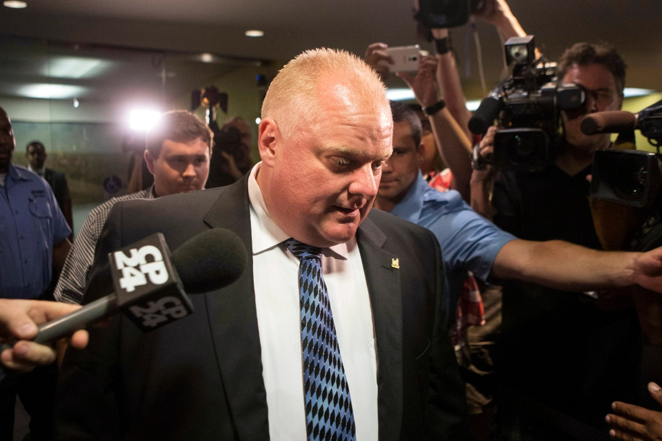 Toronto Mayor Rob Ford leaves his office at city hall in Toronto on Monday, June 30, 2014. (The Canadian Press/Chris Young)