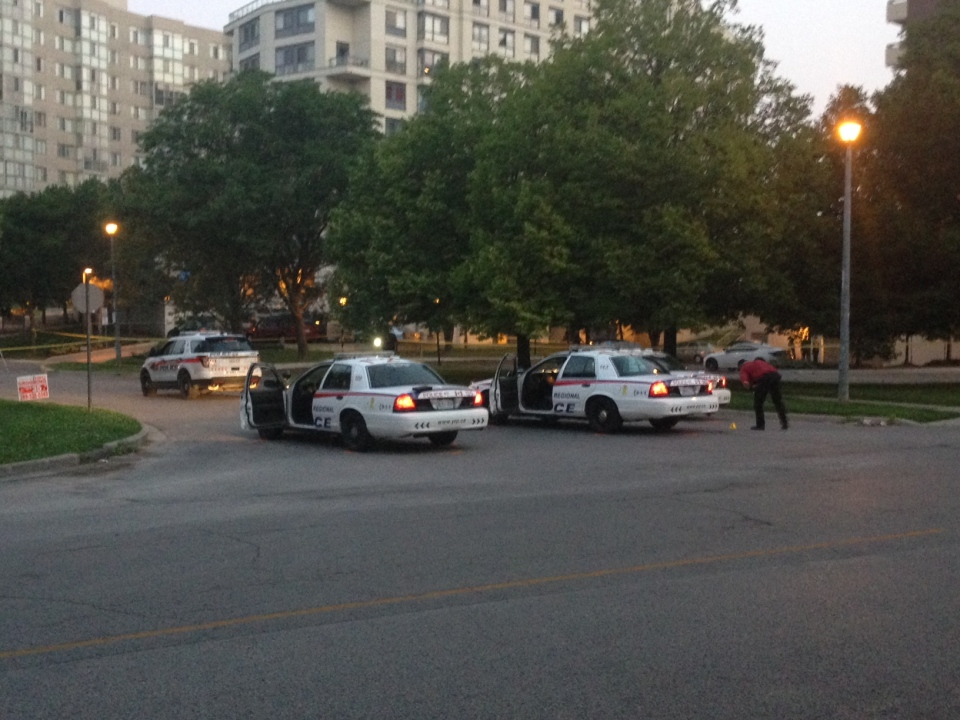 Cruisers are shown at the scene of a police-involved shooting in Newmarket early Tuesday morning. (Cam Woolley)