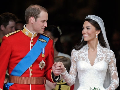 In this April 29, 2011 file photo, Britain's Prince William and his wife Kate, Duchess of Cambridge stand outside of Westminster Abbey after their Royal Wedding in London. The Duchess of Cambridge is turning 30 on Monday, Jan. 9, 2011 - but royal fans expecting a lavish birthday bash to mark the milestone will be disappointed. (AP Photo/Martin Meissner, File)