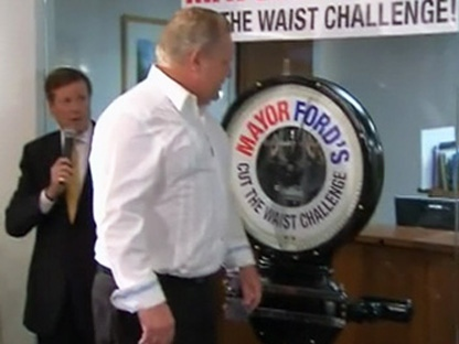 Doug Ford Kicked Off His Brother Mayor Rob S Cut The Waist Weight