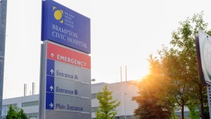 Brampton Civic Hospital is shown on Friday, Aug. 8, 2014. A public health official says a patient at a hospital near Toronto has been isolated as a precautionary measure after showing flu-like symptoms similar to those characteristic of the Ebola virus. (The Canadian Press/Victor Biro)