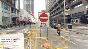 Bloor and Yonge Streets were temporarily closed to vehicular traffic on Sunday, Aug. 17, 2014.