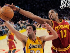 Los Angeles Lakers forward Jason Kapono, left, and Cleveland Cavaliers forward Tristan Thompson go after a rebound during the first half of their NBA basketball game, Friday, Jan. 13, 2012, in Los Angeles. (AP Photo/Mark J. Terrill)