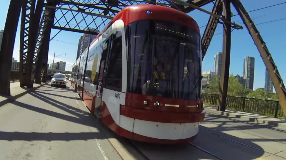 The new TTC streetcar is shown in this still photo from a demo video. (YouTube / TTC)