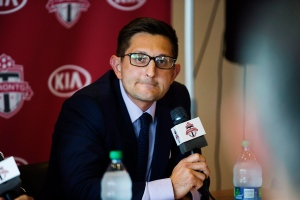 Toronto FC general manager Tim Bezbatchenko attends a press conference in Toronto on Sunday, Aug. 31, 2014. (The Canadian Press/Michelle Siu)