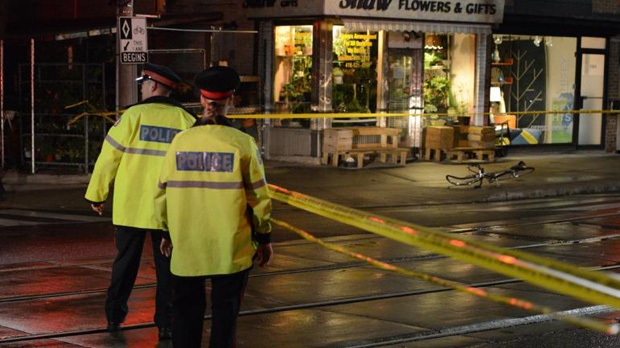 A bicycle lies on the street where a cyclist was struck by a vehicle at Dundas and Shaw streets Sunday September 21, 2014.