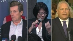 Mayoral candidates John Tory, Olivia Chow and Doug Ford are seen in this composition image.