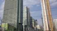 """DEVELOPMENT -- At its last meeting of the term, city council gave the go-ahead to almost 7,000 new condo units to be built in the downtown core. At that rate, some on council have decried the """"Manhattan-ization"""" of Toronto. While the city's chief planner has said the developments themselves need not cause alarm, she also warned that the city needs to match the rate of development with new infrastructure like transit. The next mayor will need to make sure that happens or the city could find itself more gridlocked than ever. (Joshua Freeman /CP24)"""