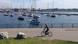 A cyclist bikes past Lake Ontario in Toronto on Thursday, Sept. 25, 2014. (George Stamou / CTV News)