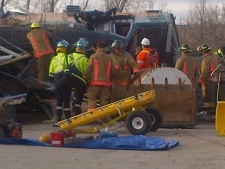 Emergency crews are shown at the site of a train derailment in Burlington. (Dave Ritchie)